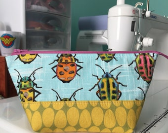 Small Open Wide Pouch in Rainbow Beetles | Zippered Pouch | Cosmetic Bag