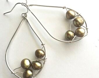Pearl Cascade Leaf Earrings, Wire Wrapped Sterling Pearl Earrings, Pearl Drop Earrings