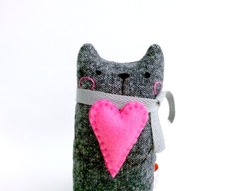 Black Cat, Stuffed Cat, Cat Miniature, Doll Cat, Small Desk Doll, Plush Cat, Toy Cat Grey, Black, Pink Heart, For Him - Boyfriend Gift