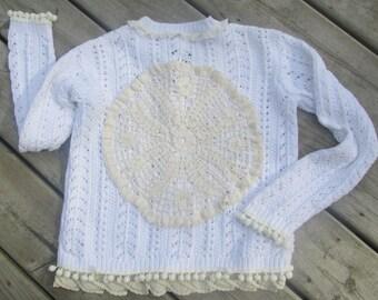 upcycled cardigan sweater with vintage doilies & lace sz XS-S white crocheted refashion pom pom trim