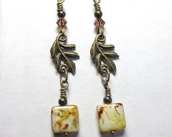 Leaf Earrings, Czech Glass, Swarovski Crystal Earrings, Antique Brass, Nature Earrings