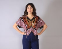 Vintage 70s SEQUIN BUTTERFLY Top / 1970s Beaded Pink & Metallic Gold Silk Blouse