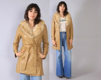 Vintage 70s LEATHER JACKET / 1970s Belted Blonde Leather Fur Collar Coat S