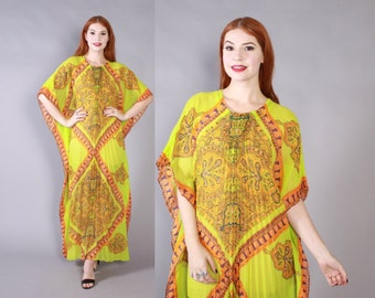 Vintage 70s CAFTAN / Bright Lime & Orange Ethnic Paisley Print Pleated Boho Maxi Dress