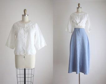 linen openwork blouse
