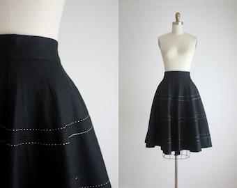 1950s black wool circle skirt