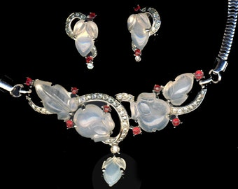 Necklace & Earrings--Vintage Trifari Moonstone Glass Faux Ruby Retro Design