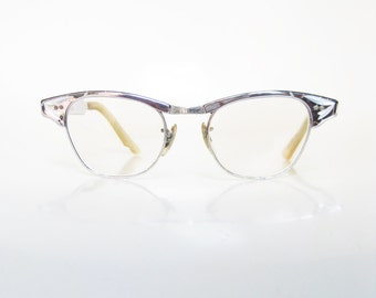 Vintage 1950s Aluminum Cat Eye Eyeglasses Indie Rockabilly Glasses 50s Fifties Silver Metallic Pin Up Sexy Librarian Chic Retro USA American
