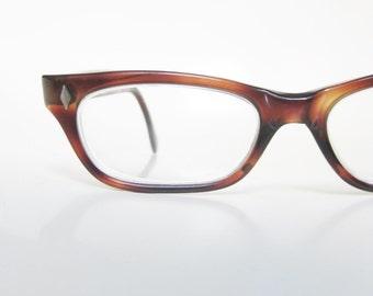 Vintage 1950s Horn Rim Womens Glasses Eyeglasses Tortoiseshell Amber Brown 50s Fifties Reading Glasses Readers Classic Authentic Retro