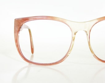 Pearl Oversized Eyeglasses Vintage 1970s Peach Pearlescent Indie Hipster Chic 70s Huge Womens Ladies Girls Glasses Sunnies Retro Clear