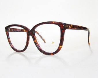 SALE Vintage Oversized Cat Eye Glasses Tortoiseshell Amber Brown 1980s Deadstock Indie Hipster Chic Sexy Pin Up Girl 80s Eighties Retro