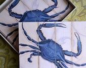 Express Shipping Chesapeake Maryland Virginia Blue Crab  Includes One Dozen 5x7 Printed Cards with blank inside and  14 Envelopes