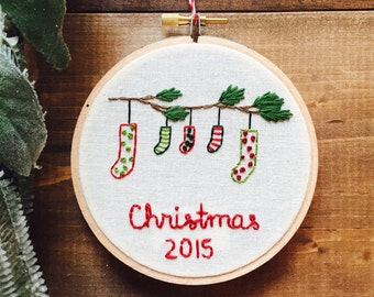 First Christmas Personalized Family Ornament, 2016 Embroidery Ornaments. First Christmas Ornament. Babys First Christmas by KimArt