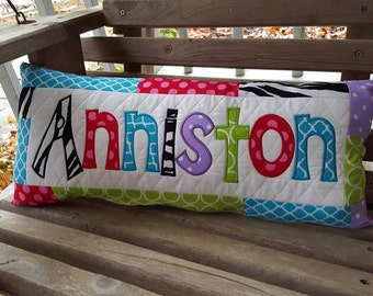 Custom Made Appliqued Name Pillow