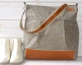 Ready to ship GRAY Waxed canvas Diaper bag / Messenger bag Stockholm  nautical striped  Leather / Ikabags Featured on The Martha Stewart F1