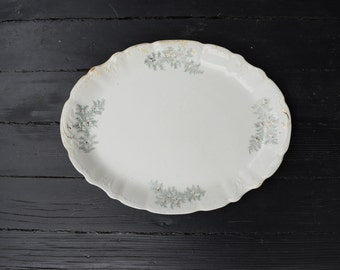 White Antique Ironstone Platter . Holiday Decor . Serving Plate . 1890s Dish
