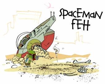 SPACEMAN FETT Calvin and Hobbes + Boba Fett print -- multiple sizes