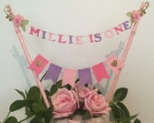floral first birthday cake topper