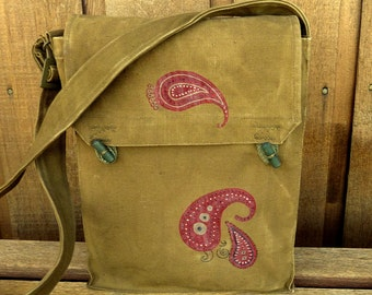 Paisley Pattern Red Bandana - Vintage Military Canvas Messenger Bag - Hand Painted