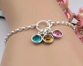 Birthstone Bracelet, Mother's bracelet, birthstone jewelry,  gift for mom, grandma, choose your birthstones, sterling silver
