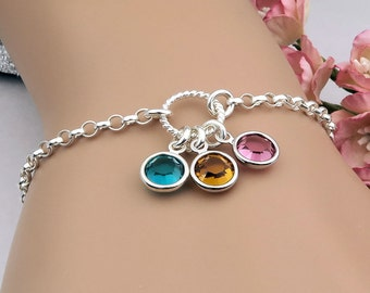 Birthstone Bracelet, Mother's bracelet, birthstone jewelry,  gift for mom, grandma, choose your birthstones, sterling silver