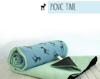 Picnic Blanket- Eco Waterproof Picnic Blanket- Roll Up- Blue and mint - Portable