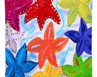 Colorful starfish window curtains from my art