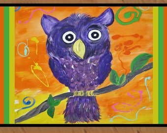 Purple Owl from my art indoor / outdoor floor mat