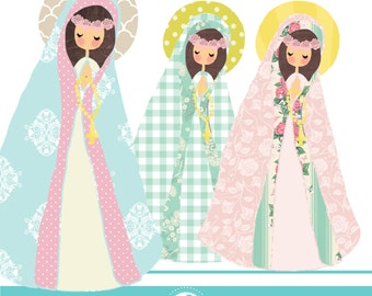 Cute Virgen Maria cliparts - COMMERCIAL USE OK