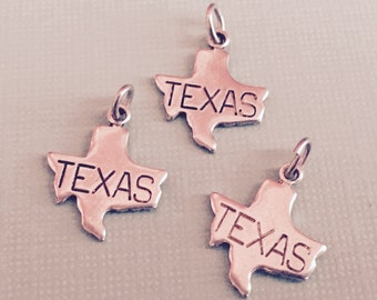 Texas State Charm Pendant with Loop, Antique Silver, Great for Charm Bracelets, Necklaces, Earrings