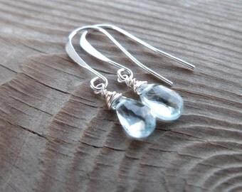 Geniune Swiss Blue Topaz Gemstone Birthstone Dangle Sterling Silver Earrings