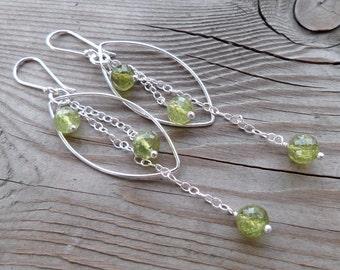 Sterling Silver Genuine Green Garnet Gemstone and Birthstone Dangle Earrings