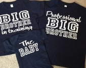 Big Brother Shirt Set, Big Brother In Training, Professional Big Brother, Set Of 3 Shirts, Siblings Tshirts, Big Brother T-shirts