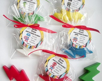 Custom Listing-Superhero Lightning Bolt Batman Superman Wonder Woman Spiderman My Little Hero Shower Favors Handmade Soap