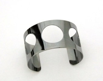 Gunmetal Cuff 1.5 Inch Wide 3 Round Cutouts Ready For Crafting Or Wear   SALE While Supplies Last