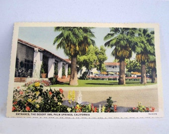 Vintage Postcard from The Desert Inn, Palm Springs CA. Circa 1940's.