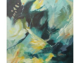 Original Mixed Media Expressionist Art Abstract Painting. Musing138. turquoise yellow green Contemporary Modern
