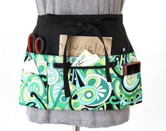 Vendor Apron - Waitress apron - Teacher Apron - cash apron - half apron with zipper pocket - craft show apron - utility apron - work apron