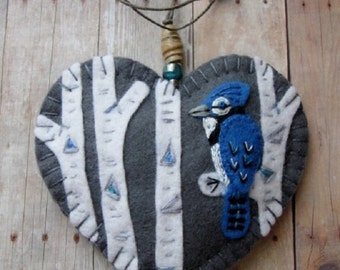 Blue Jay in Birch Ornament - Ready to Ship Embroidered Fiber Art