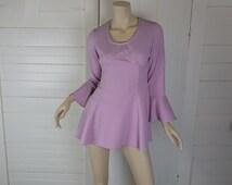 60s Babydoll Dress in Lavender- 1960s Mod Mini Dress + Panties- Bell Sleeves