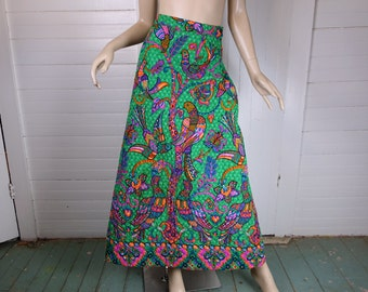 60s Quilted Skirt- 1960s Boho Bird & Tree of Life Print Maxi Skirt in Emerald Green + Hot Pink- Jewel Tones- Small- Hippie Festival