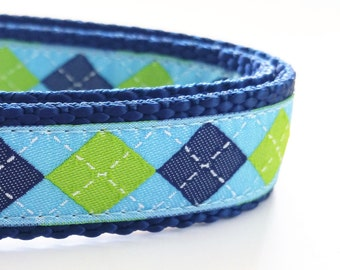 The Preppy Puppy - Dog Collar / Handmade / Adjustable / Pet Accessories / Argyle / Pet Lover / Gift Idea