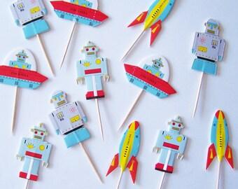 Robots and Spaceships Cupcake Picks
