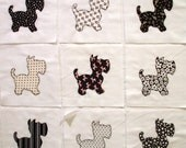 Black and White Scotty Dogs Appliqued Quilt Blocks