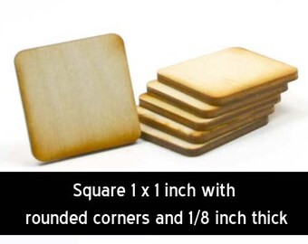 Unfinished Wood Square - 1 inch by 1 inch by 1/8 inch thick with rounded corners wooden shape (SQRD03)