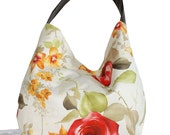 FREE SHIPPING!  Faux Suede Handbag, Beautiful screenprint floral shoulder bag,  large hobo sling purse, Women's fashion slouch shoulder bag