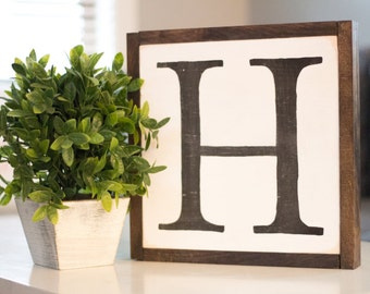 Letter or Number Hand-Painted Wood Sign
