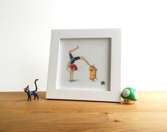 Ed and Ein Cowboy Bebop Watercolor Print 5x5 by Kendra Minadeo Limited Edition Nursery Art, Baby Art, Nursery Decor