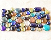 Lot of 50 Dichroic Fused Glass Beads Cabs Cabochons