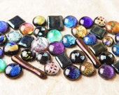 Lot of 40 Dichroic Fused Glass Beads Cabs Cabochons